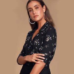 Lulus Passion Black Floral Print Long Sleeve Top
